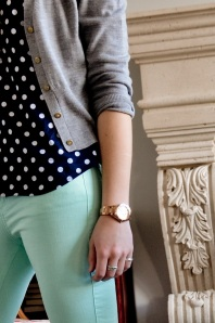 Model Mint and Navy Polka Dots
