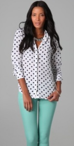 Model Mint and White Polka Dots