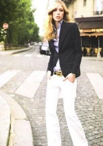 Model White Pants Chambray Shirt