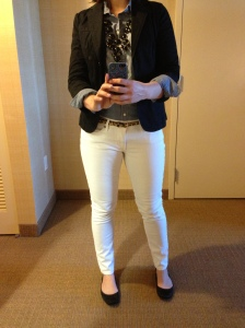 White pants Chambray Shirt