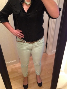 Black Silk Shirt, Mint Jeans