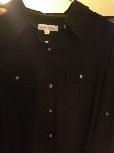 Black Silk Shirt, Silver Buttons