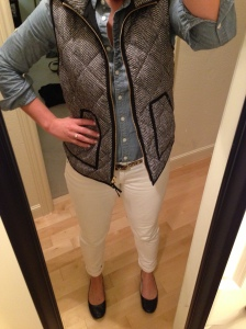Herringbone vest, chambray shirt, white jeans