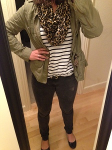 leopard print scarf, striped shirt, army green jacket, black jeans