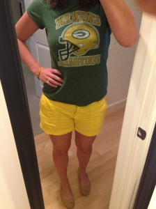 Packers Tee, Yellow Shorts, Yellow Flats