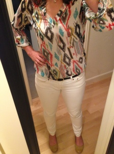 patterned tunic, white jeans