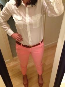 peach pants, white collared shirt
