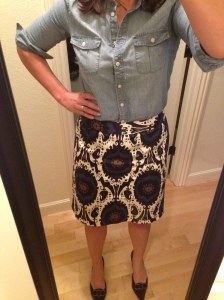 Printed Skirt, Chambray Shirt