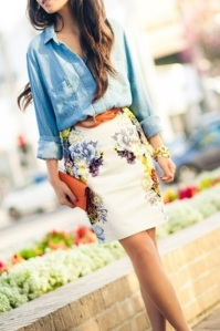 Skirt and Chambray Shirt Model