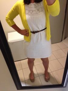 white dress, yellow cardigan, skinny belt