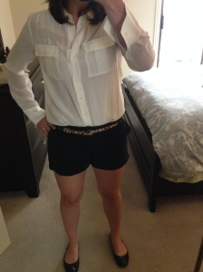 White silk shirt, black shorts