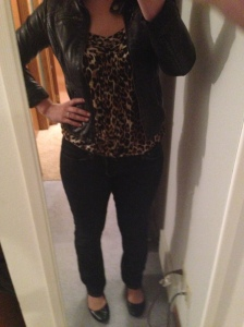 leather jacket, blue jeans, leopard print tank