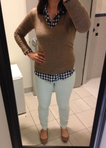 Mint Jeans, Navy Gingham Shirt, Tan Sweater