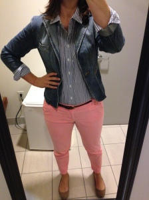 Orange Chinos, Denim Jacket, Blue and White Striped Shirt