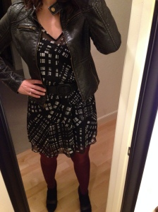 black and white dress, black leather jacket, maroon tights, black booties