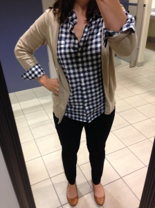 navy gingham shirt, tan cardigan, black jeans