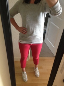Red Pants, Striped Tank, Gray Sweater, White Converse