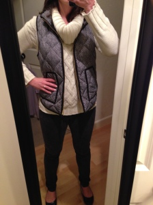 White Sweater, Herringbone Vest, Black Jeans