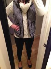 White Sweater, Herringbone Vest, Black Leggings