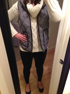 White Sweater, Herringbone Vest, Black Leggings