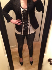 black blazer, cream and lace tank, dark ripped jeans, black heels