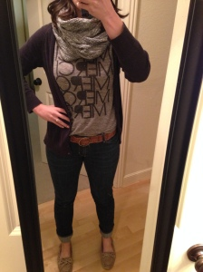 navy cardigan, infinity scarf, gray graphic tee, jeans