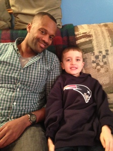 Brady and my KISA loving his Tom Brady sweatshirt