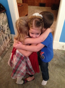 Group hug with Abigail, Brielle, and Garrett