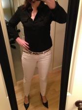 white jeans, black silk blouse, leopard print belt
