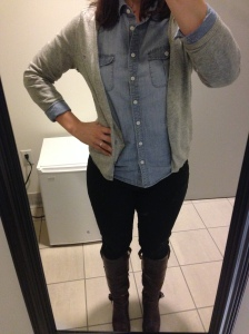 chambray shirt, gray cardigan, black jeans, brown boots