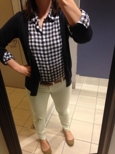 navy gingham shirt, navy cardigan, mint jeans