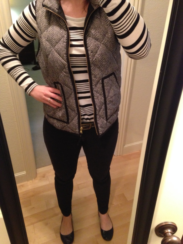 black and white striped tee, herringbone vest, black jeans