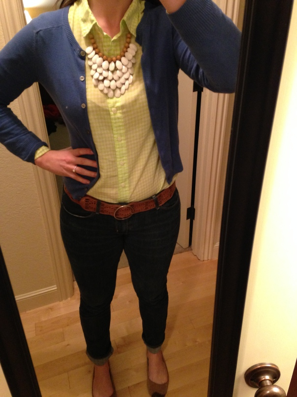 blue cardigan, lime green gingham button down, jeans, statement necklace