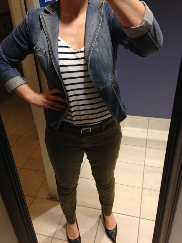 denim blazer, black and white striped tee, olive pants