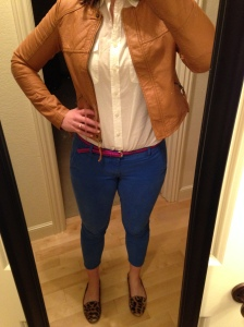 blue pants, white collared shirt, tan blazer