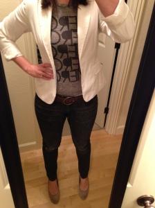 jeans, graphic tee, white blazer, nude heels
