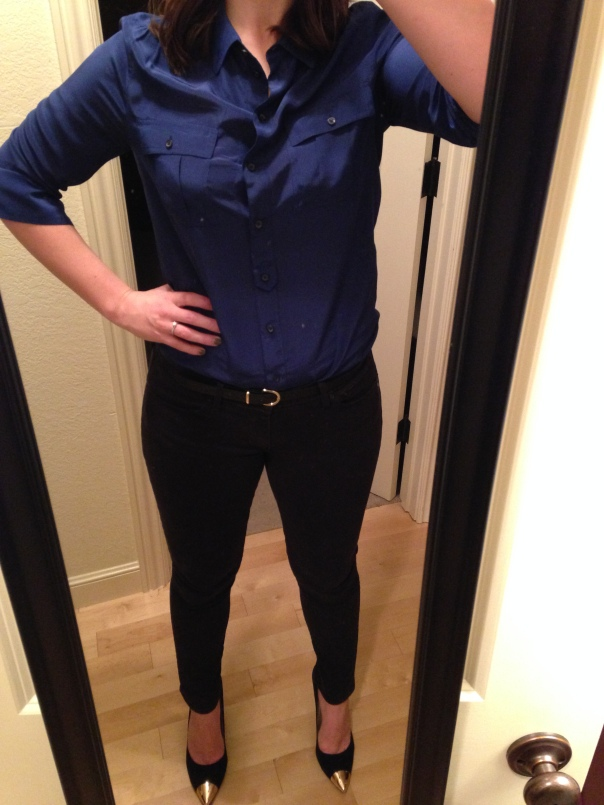navy button down blouse, black jeans, gold tipped heels