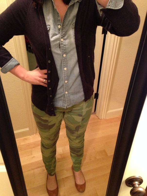 navy cardigan, chambray shirt, camo jeans
