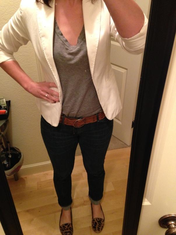 white blazer, gray tee, jeans