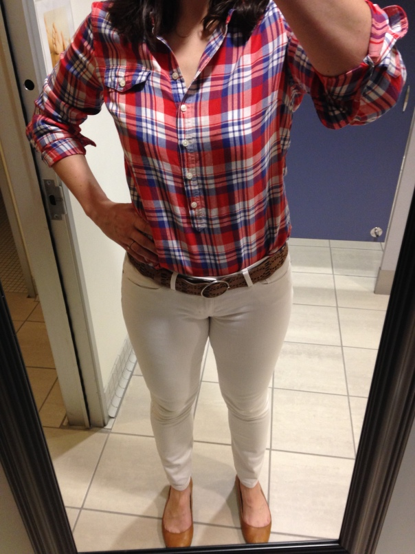 Pink and blue plaid shirt, white jeans, tan flats
