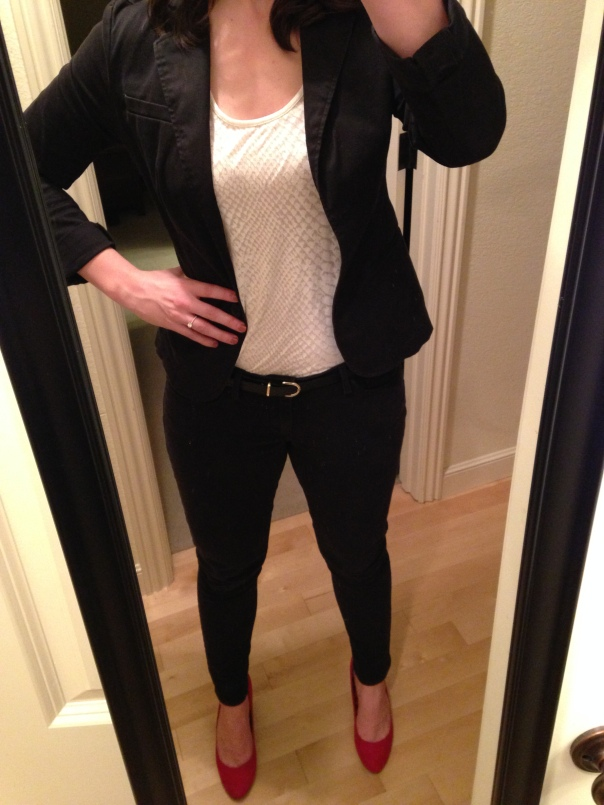 Black blazer, white tank, black jeans, red heels