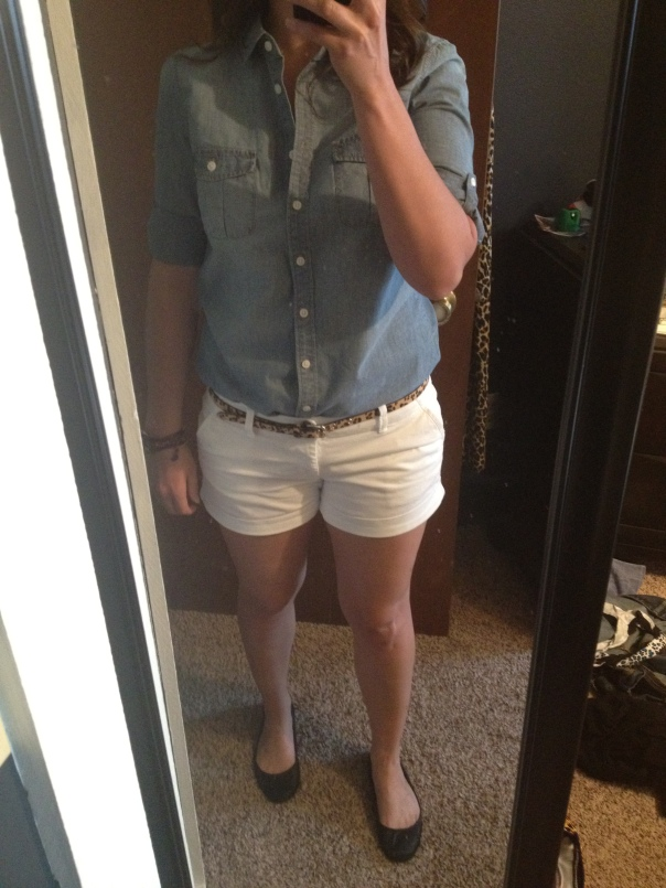 Chambray shirt, white jean shorts, leopard print belt, black ballet flats