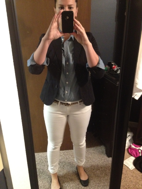 Black blazer, chambray shirt, leopard print belt, white jeans, black flats
