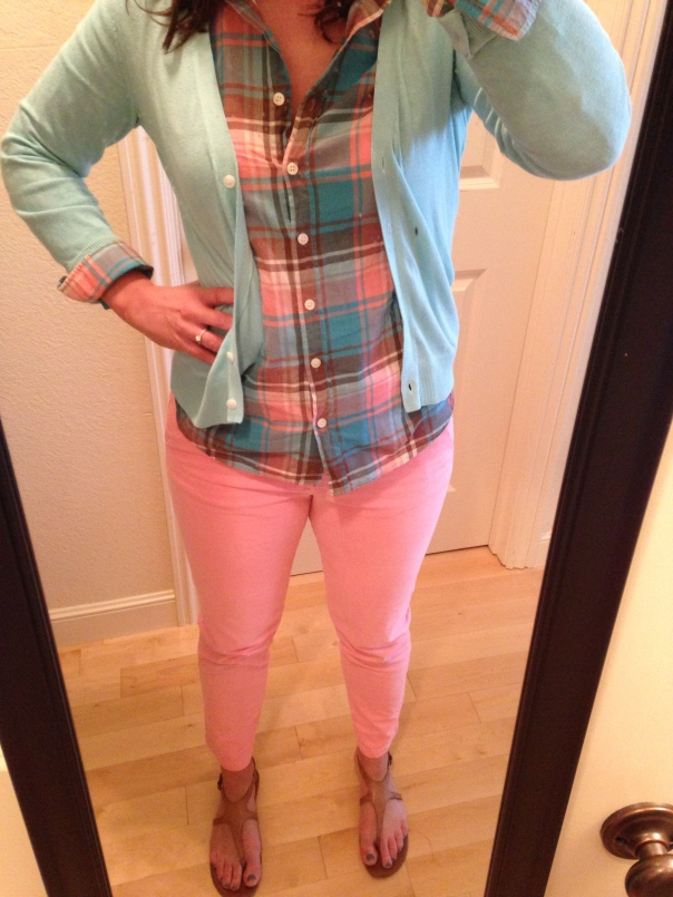 Blue and pink plaid shirt, blue cardigan, pink chinos, tan sandals
