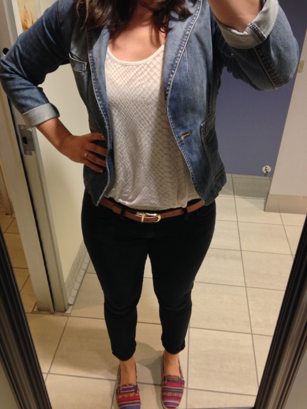 Jean blazer, white tank, tan belt, black jeans, slip on Vans