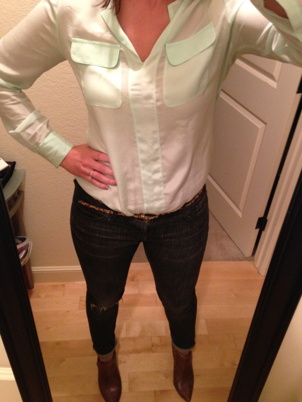 Mint blouse, jeans, brown booties