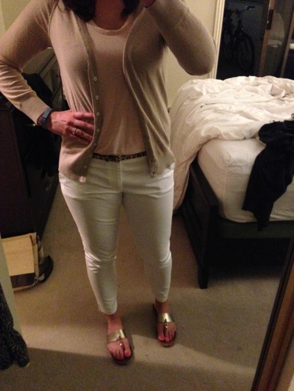 Tan cardigan, pink tank, white jeans, leopard print belt, sandals