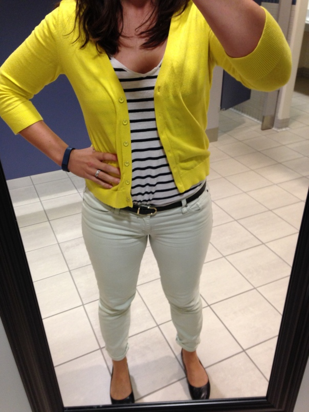 Yellow cardigan, striped tee, mint jeans, black flats