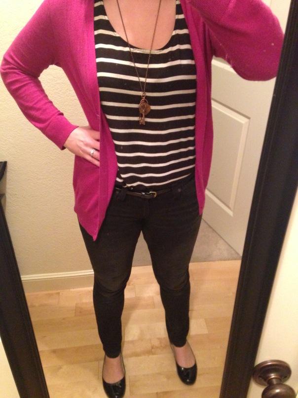 Fuchsia cardigan, striped tank, black jeans, black flats