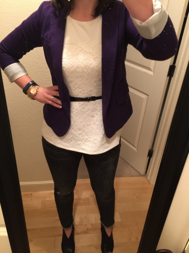 Purple blazer, white peplum top, black belt, ripped jeans, black open-toe booties